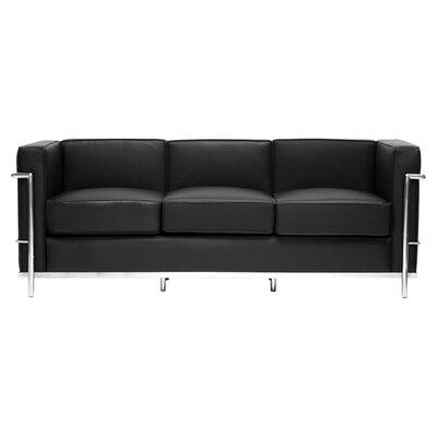 610-sofa-Black WHI7096 Wholesale Interiors DeGaulle Leather Sofa in Black