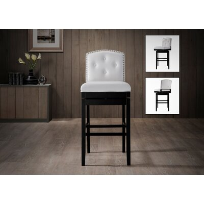 Baxton Studio 30.23 Swivel Bar Stool Finish: White