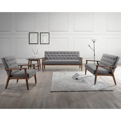 Zoee 3 Piece Wood Frame Living Room Set