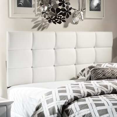 Baxton Studio Bordeaux Upholstered Panel Headboard Size: Queen, Upholstery: White