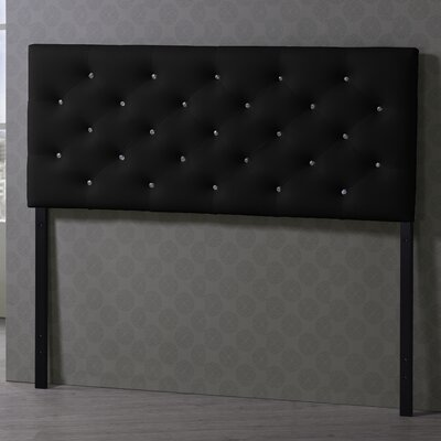 Viviana Upholstered Panel Headboard Upholstery: Black, Size: Queen
