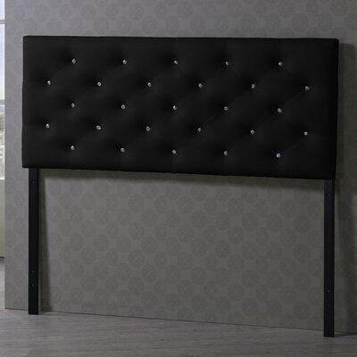 Baxton Studio Viviana Upholstered Panel Headboard Upholstery: Black, Size: Queen