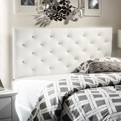 Baxton Studio Viviana Upholstered Panel Headboard Size: Full, Upholstery: Cream White