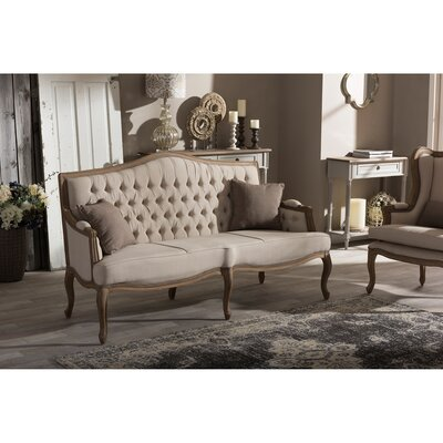 Baxton Studio Oliver Weather Oak Sofa