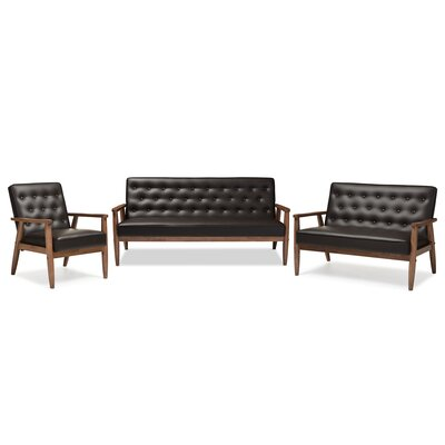 Sorrento Baxton Studio Upholstered 3 Piece Living Room Set