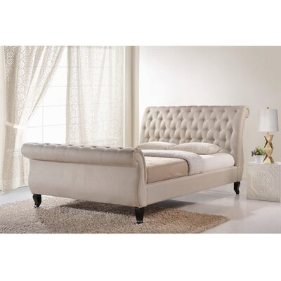 Baxton Studio King Upholstered Platform Bed Color: Light Beige, Size: Queen
