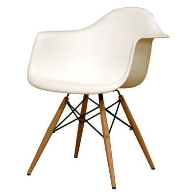 Baxton Studio Pascal Shell Solid Wood Dining Chair Upholstery: White