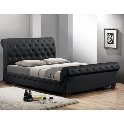 Baxton Studio Queen Upholstered Sleigh Bed Upholstery: Black, Size: Queen