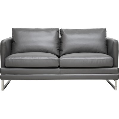 1378-DU8145-LS WHI4653 Wholesale Interiors Baxton Studio Dakota Leather Loveseat