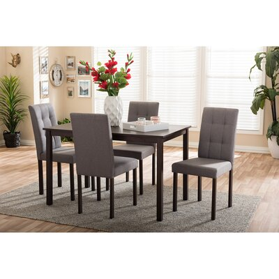 Baxton Studio 5 Piece Dining Set Upholstery: Gray