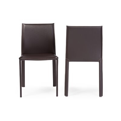 Spicer Upholstered Dining Chair (Set of 2) Upholstery: Brown