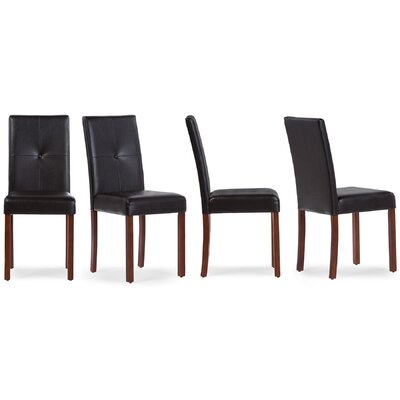 Baxton Studio Curtis Parsons Chair Finish: Brown, Upholstery: Dark Brown