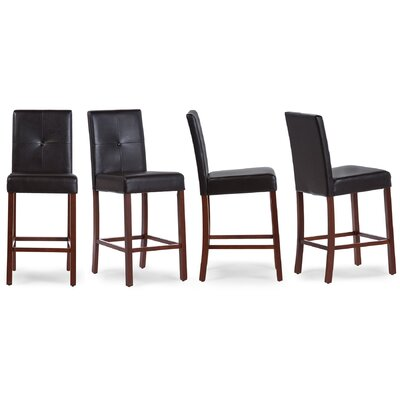 Baxton Studio 25 Bar Stool Upholstery: Dark Brown, Finish: Brown