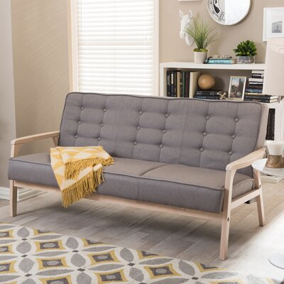 TIMOR Sofa-Whitewash/Gray WHI5539 Wholesale Interiors Baxton Studio Mid Century Timor Sofa