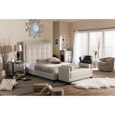 Baxton Studio Upholstered Panel Bed Size: Queen, Upholstery: Light Beige