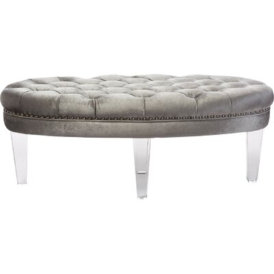 Edna Oval Microsuede Fabric Upholstered Luxe Tufted Ottoman Upholstery: Gray