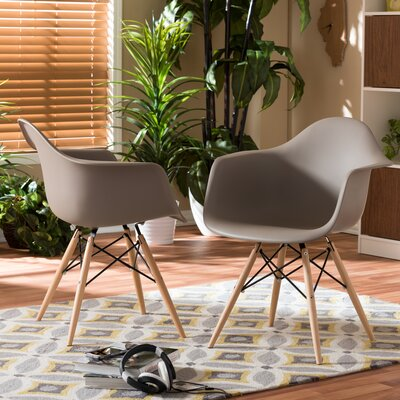 Brydon Shell Solid Wood Dining Chair Upholstery: Beige
