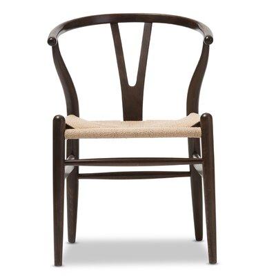 Baxton Studio Wishbone Chair in Dark Brown Barrel Chair