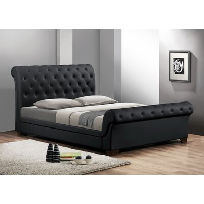 Baxton Studio Queen Upholstered Sleigh Bed Upholstery: Black, Size: Full