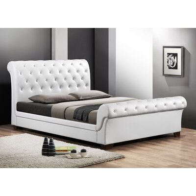 Baxton Studio Queen Upholstered Sleigh Bed Size: Full, Upholstery: White