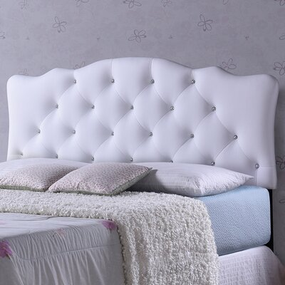 Rita White Scalloped Queen Upholstered Panel Headboard