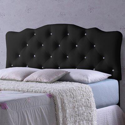 Baxton Studio Rita Black Scalloped Full Upholstered Panel Headboard