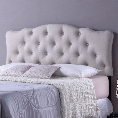 Baxton Studio Rita Light Beige Scalloped Full Upholstered Panel Headboard