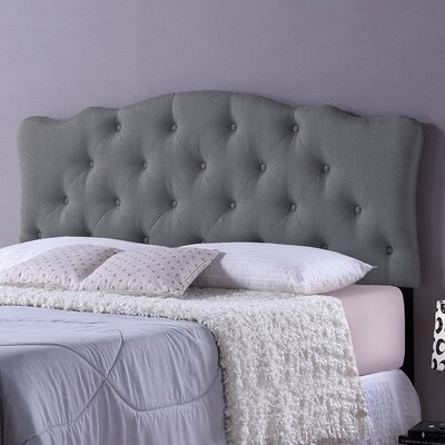 Baxton Studio Rita Grey Scalloped Queen Upholstered Panel Headboard