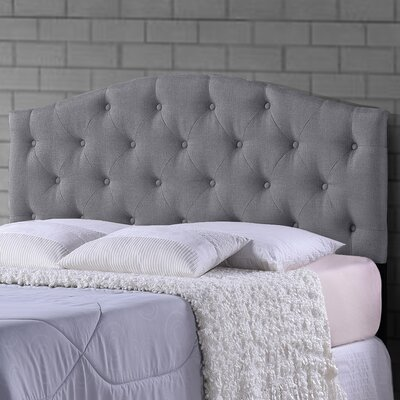 Myra Grey Scalloped Queen Upholstered Panel Headboard