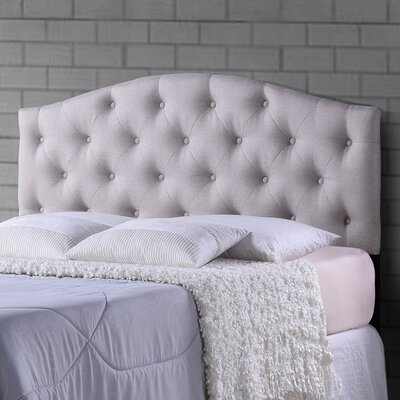 Myra Light Beige Scalloped Full Upholstered Panel Headboard