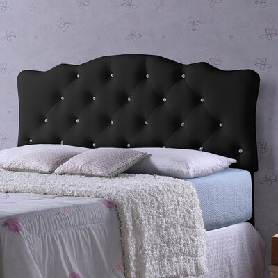 Rita Black Scalloped Queen Upholstered Panel Headboard
