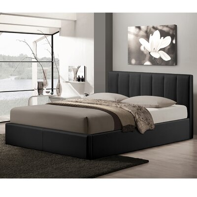 Baxton Studio Queen Upholstered Storage Platform Bed Upholstery: Black
