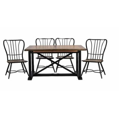 Longford 7 Piece Dining Set Color: Black