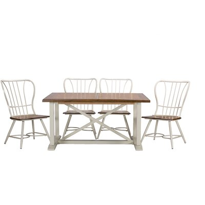 Longford 7 Piece Dining Set Color: White