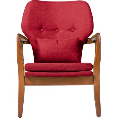 Duong Tufted Armchair Upholstery Color: Red