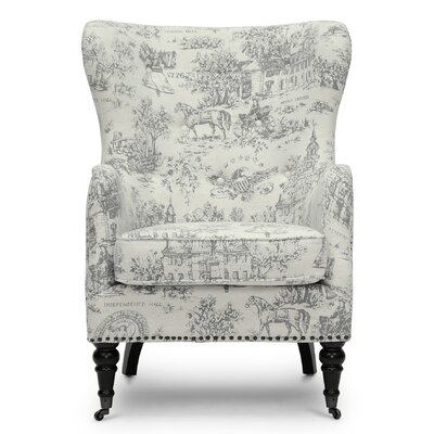 Baxton Studio Livingston Linen Colonial Print Armchair