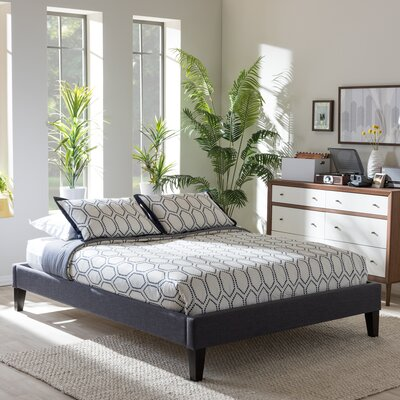 Baxton Studio Upholstered Platform Bed Upholstery: Dark Grey, Size: Full