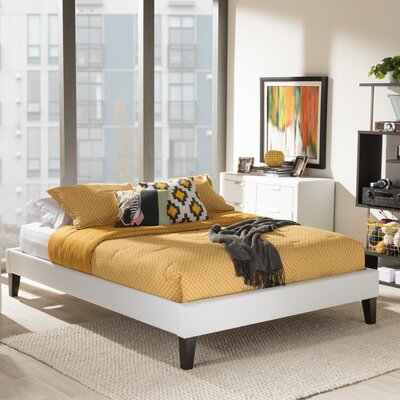 Baxton Studio Upholstered Platform Bed Size: Queen, Upholstery: White