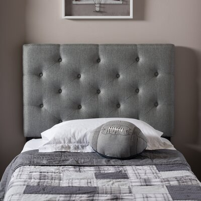 Baxton Studio Twin Upholstered Panel Headboard Upholstery: Gray
