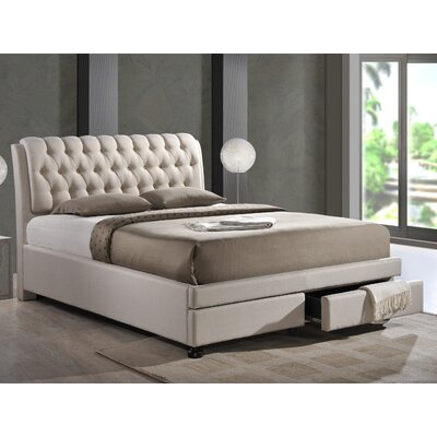 Baxton Studio Upholstered Storage Platform Bed Size: King, Upholstery: Light Beige
