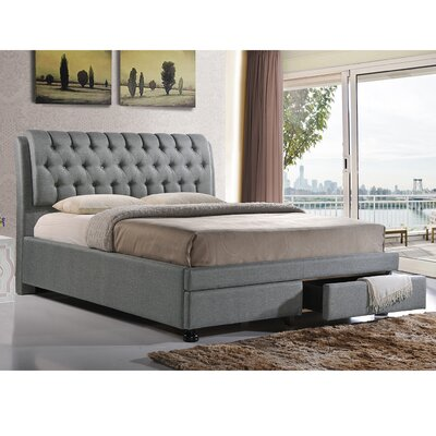 Baxton Studio Upholstered Storage Platform Bed Size: Queen, Upholstery: Grey