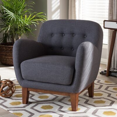 Sophia Upholstered Button Tufted Armchair Finish: Dark Gray