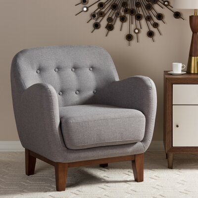 Sophia Upholstered Button Tufted Armchair Finish: Light Gray