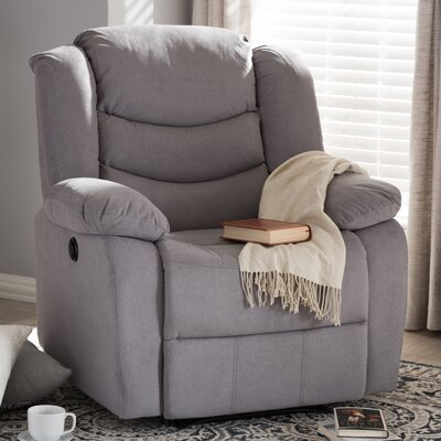 Baxton Studio Lia Fabric Power Recliner Finish: Gray