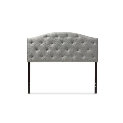 Baxton Studio Myra Grey Scalloped Full Upholstered Panel Headboard