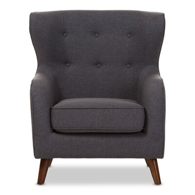 Baxton Studio Sabrina Upholstered Wingback Chair Color: Dark Gray
