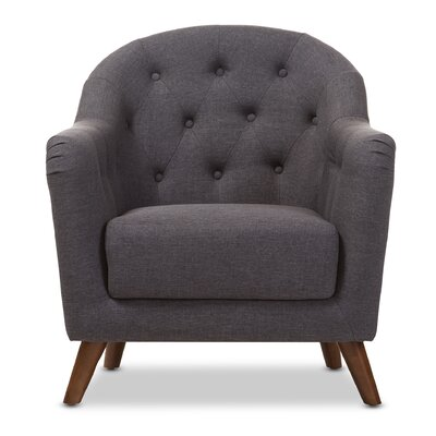 Baxton Studio Niccolo Upholstered Armchair Color: Dark Gray