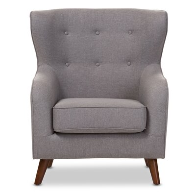 Sabrina Baxton Studio Wingback Chair Upholstery: Light Gray