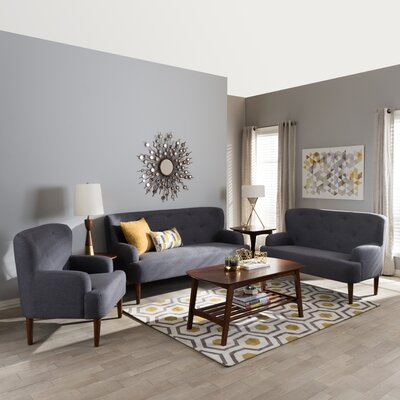 Aria 3 Piece Living Room Set Upholstery Color: Dark Gray