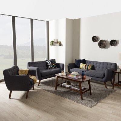 Bianca 3 Piece Living Room Set Upholstery Color: Dark Gray